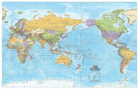free usa wall map world political map pacific centred hema buy hema