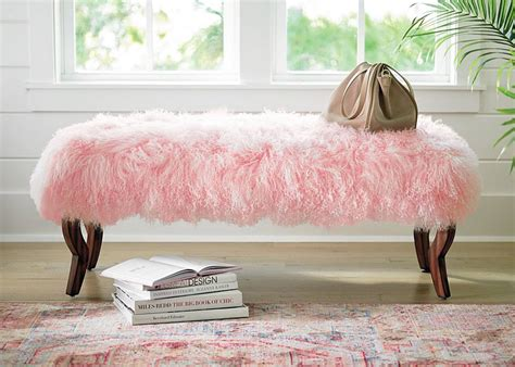 pink mongolian fur bench you need a touch of pink 5 ways to try it grandin road
