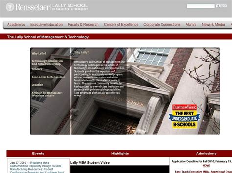 Lally School Of Management Mba Ranking rpi lally school of management and technology ranking