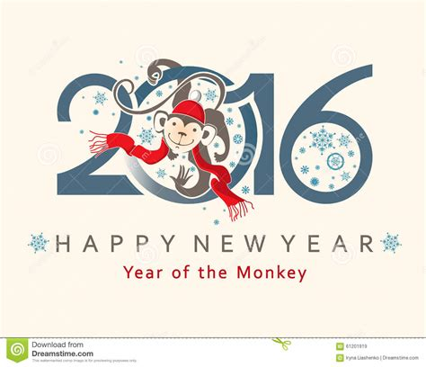 new year monkey card design monkey in circle new year s design 2016 stock