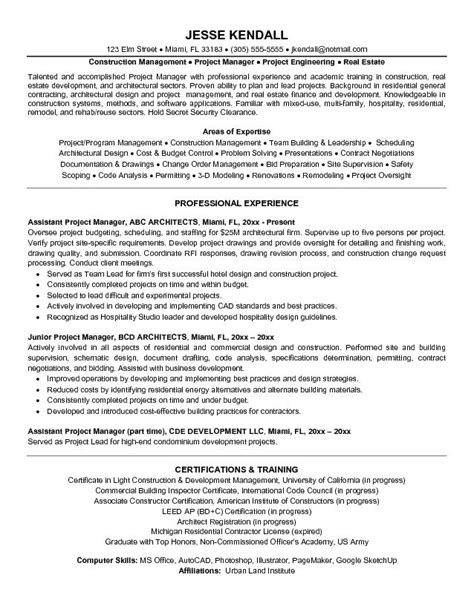 project manager resume sle sle resume for project