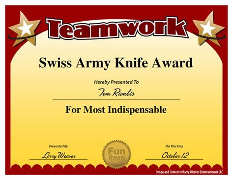 templates for office awards swiss army knife award mops pinterest swiss army