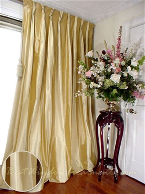 ivory silk drapes thai silk pleated draperies in two tone solid gold and