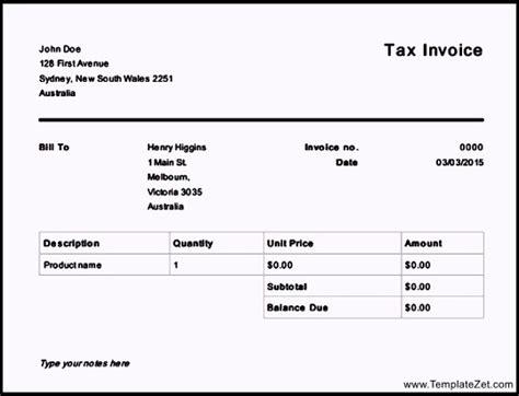 invoice template australia free free tax invoice template australia templatezet