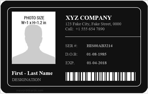Employee Id Card Templates Microsoft Word Id Card Templates Id Card Template For Microsoft Word