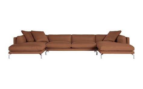 double chaise sectional como double chaise sectional in leather design within reach