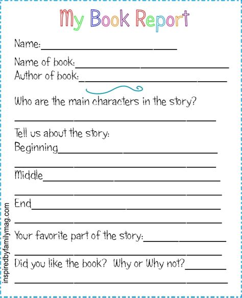 books for a book report printable book report forms elementary inspired by family