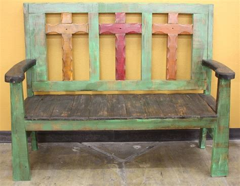 cross bench green rustic cross bench painted i love agave ranch