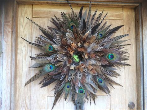 feather wreath pheasant feather wreath wall decor with peacock feathers