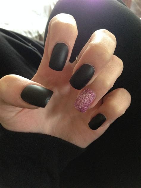 matte black and pink matte black nails with pink glitter pepe
