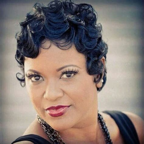 black hairstyles with finger wave sides and curls on top finger waves hair beauty pinterest fingers waves