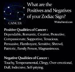 find positives and negatives of your zodiac sign cancer
