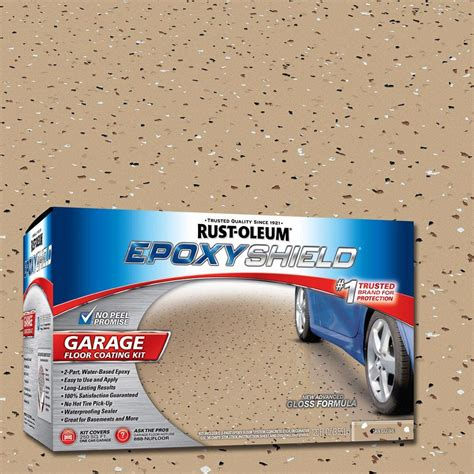 rust oleum epoxyshield 1 gal tan high gloss low voc one car garage floor kit 261842 the home