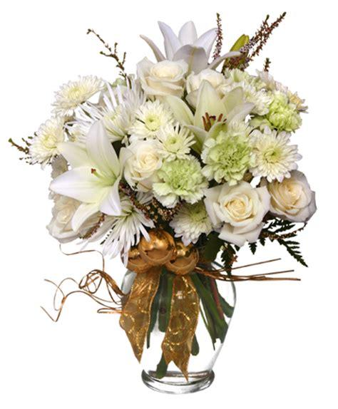 new year white flower sparkling winter flower arrangement