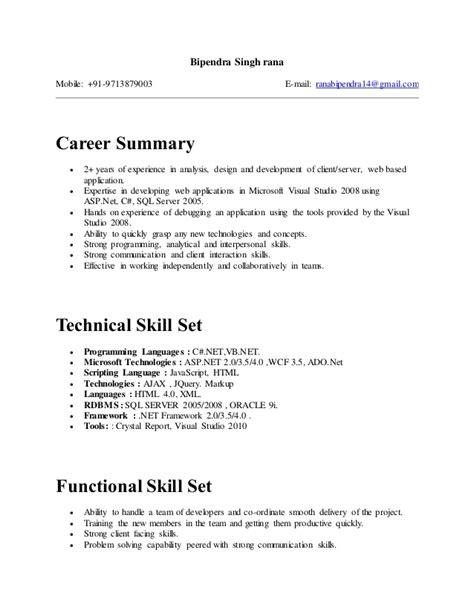 Sle Resume Format For One Year Experience Resume Format For 1 Year Experience Dot Net Developer 28 Images 1 Year Experience Resume