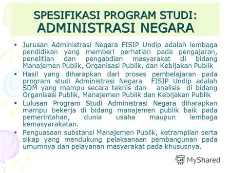 Manajemen Administrasi Organisasi Pendidikan Mulyono Ma quot kompetensi lulusan dan spesifikasi program studi fisip undip quot