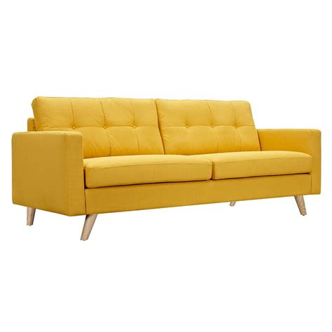 tufted fabric sofa uma mid century modern yellow fabric button tufted sofa w