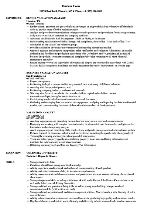 Valuation Analyst Sle Resume by Valuation Analyst Resume Sles Velvet