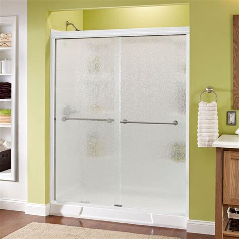 Delta Shower Door Delta Lyndall 60 In X 70 In Semi Frameless Sliding Shower Door In White With Nickel Handle