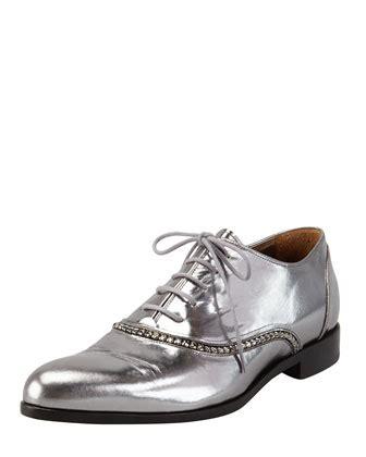 metallic oxford shoes womens silver leather oxford shoes lanvin metallic trim