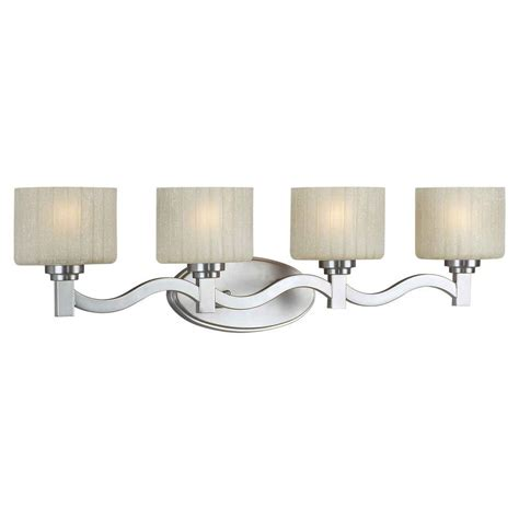 Nickel Bathroom Lights Talista Prana 4 Light Brushed Nickel Bath Vanity Light With Umber Linen Glass Cli Frt5388 04 55