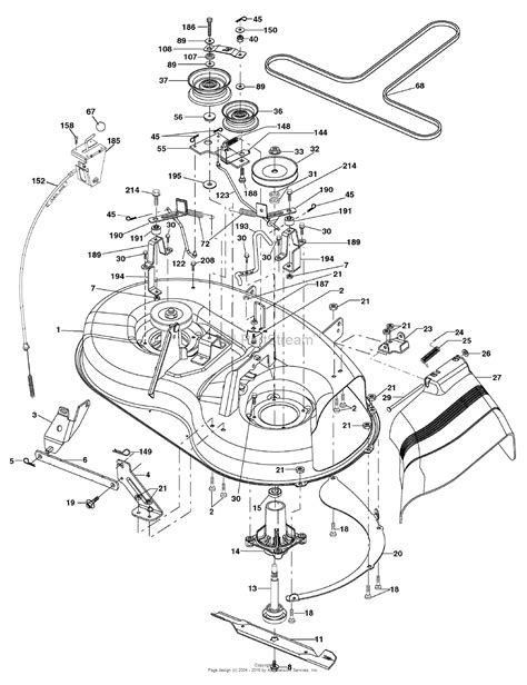 murray lawn mower deck parts diagram murray 38l12g50x8a 96012007605 12 5hp 38 quot lawn tractor