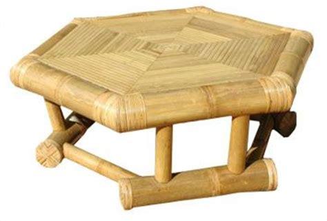 table basse hexagonale en bambou