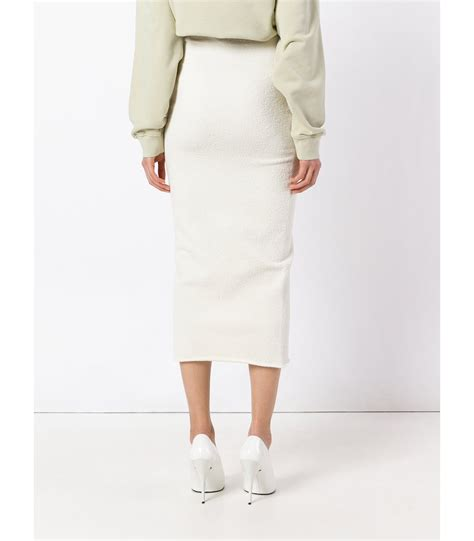 yeezy white stretch midi pencil skirt in neutrals