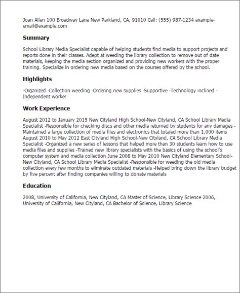 Elementary Media Specialist Sle Resume by School Library Media Specialist Resume Template Best Design Tips Myperfectresume