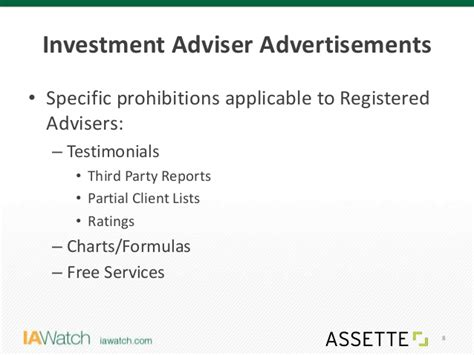 Investment Advisers Act Section 206 by Ia Assette Advertising Marketing Compliance