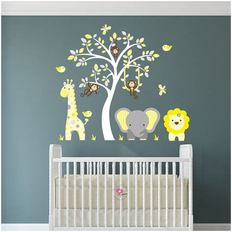 Jungle Animal Nursery Wall Art Stickers Nursery Wall Decals Uk