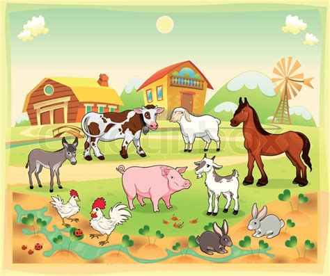 Best Family House Plans by Farm Animals With Background Stock Vector Colourbox