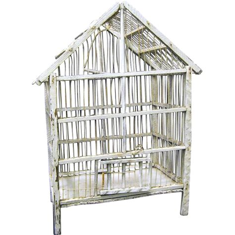 rustic vintage white wood and wire bird cage from toniink