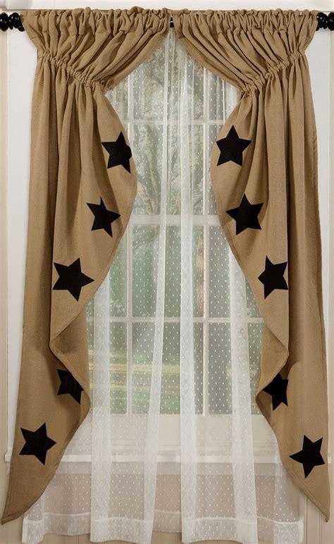 black burlap curtains black star deluxe burlap prairie curtain by olivia s