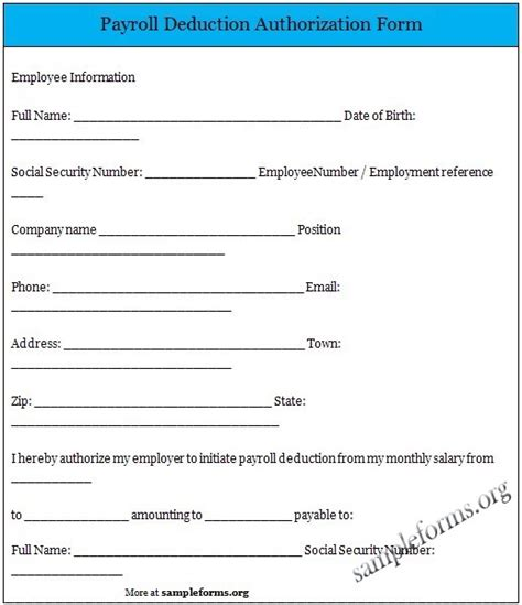 employee deduction form template payroll deduction authorization form payroll sle