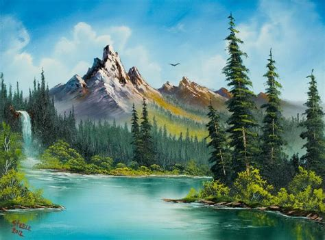 bob ross painting a waterfall bob ross paintings for sale wilderness waterfall