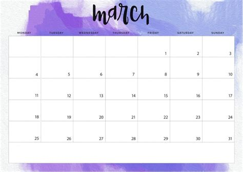 march  calendar   word excel printable template
