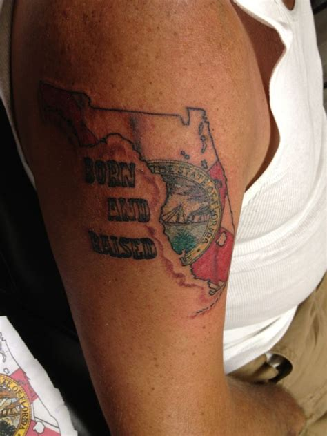florida tattoos florida with state flag waving was his
