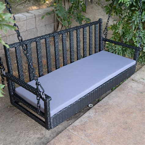 hanging bench 60 quot black wicker porch swing outdoor garden furniture