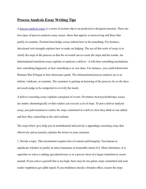 Process Explanation Essay by Process Analysis Essay Writing Tips