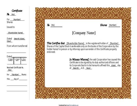free certificate templates for word uk 40 free stock certificate templates word pdf