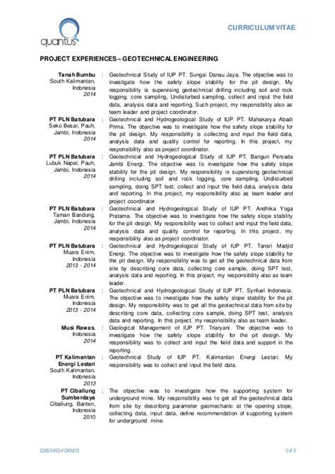 Geological Engineer Sle Resume by Cv Evi P Nurfalah Ud0115