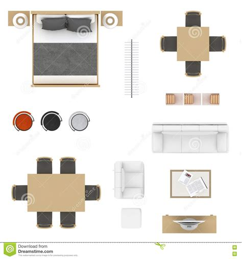 Xs Floor Plan by Furniture Top View Stock Illustration Illustration Of
