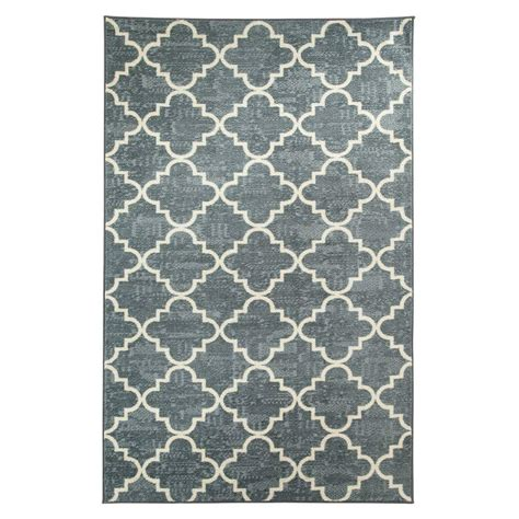 printed rugs mohawk home fancy trellis gray printed 5 ft x 8 ft area rug 395520 the home depot