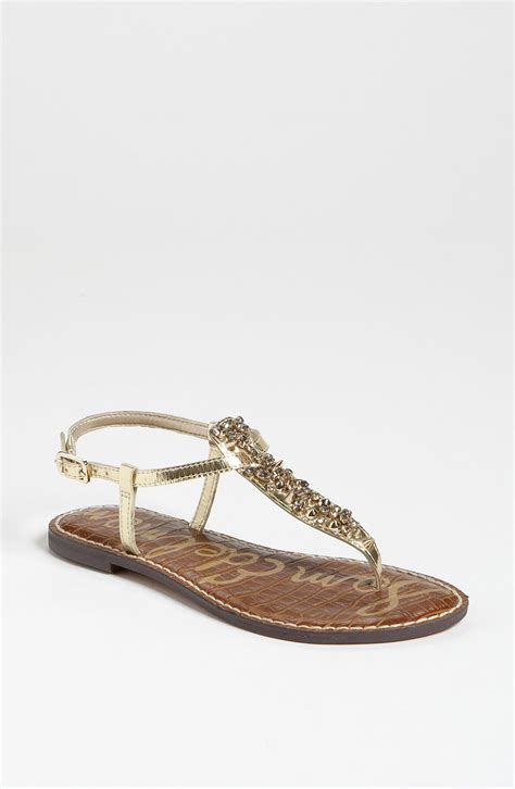 sam edelman gold sandals sam edelman gwyneth sandal in gold gold shine lyst