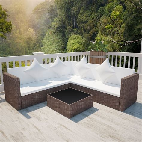 rattan lounge sofa brown poly rattan lounge set with two seat sofa vidaxl