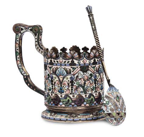 bicchieri argento bicchiere kovsh con cucchiaio in argento e smalti