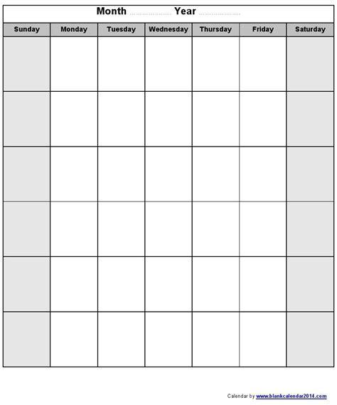 blank monthly calendar template monday through friday