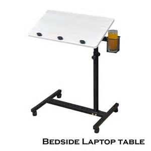 Bedside Laptop Desk Space Saving Bedside Adjustable Rotating Laptop Desk Table Food Tray White S New Ebay