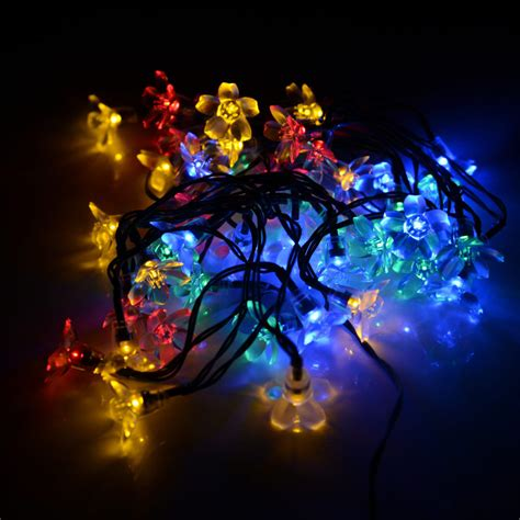 solar flower shape string lights outdoor for christmas
